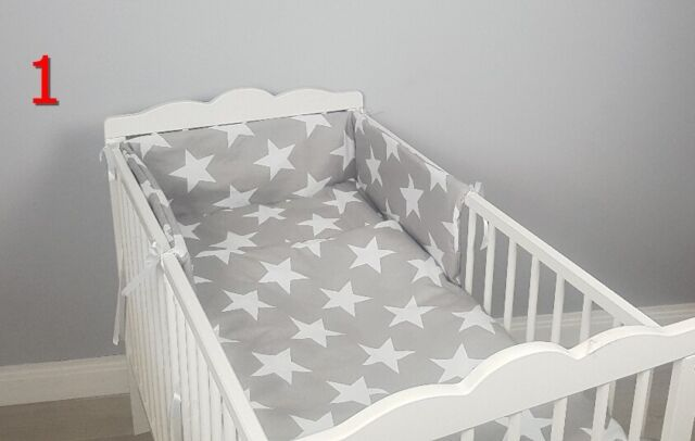 3 Piece Nursery Bedding Set with Bumper to fit 140x70 cm Cot Bed Plain Pink