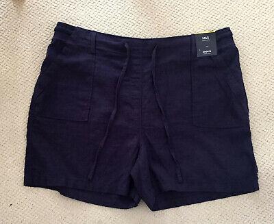 "Ladies M/&S Sizes 10 12 Linen Rich Shorts  5/""L Bnwt Oyster Ochre"
