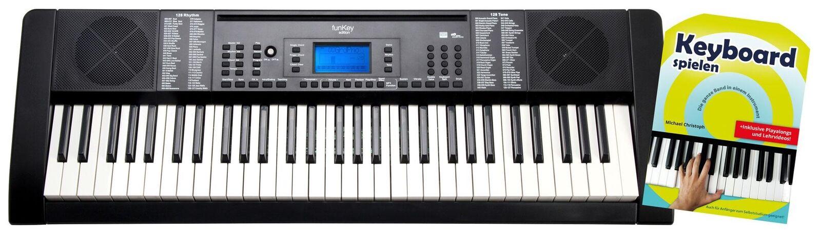 Digital 61-Tasten Keyboard E-Piano 128 Sounds USB MP3 Record Set Schule schwarz