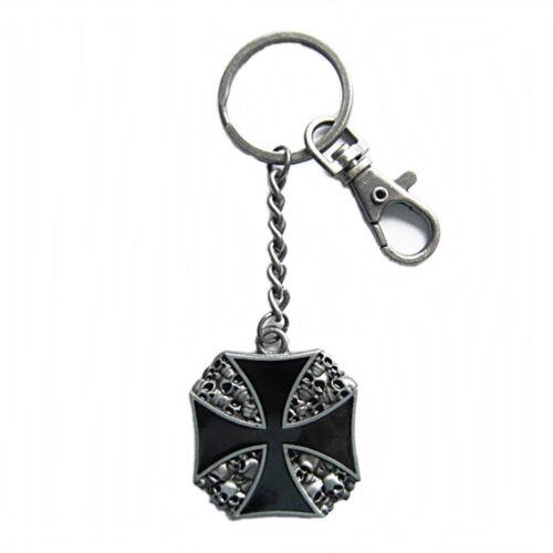 Schlüsselanhänger Schlüsselring mit Karabiner Eisernes Kreuz Totenkopf