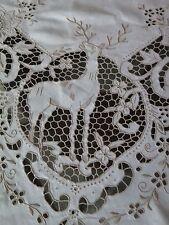 Vtg Antique Madeira Deer Stag Hand Embroidered Linen Banquet Tablecloth Rare