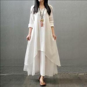 Womens Cotton Linen Chic Full Length Gown Caftan Casual Gown Dress