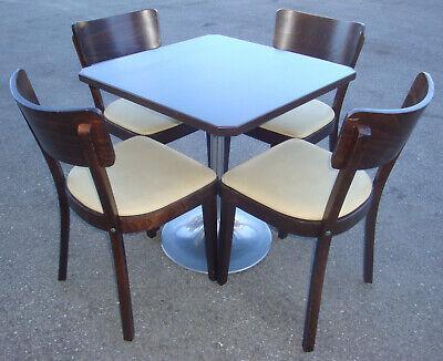 Hochw Fa. MAY Bistro Sitzgruppe Gastro Tisch 4 Leder Stühle Edelholz Restaurant | eBay