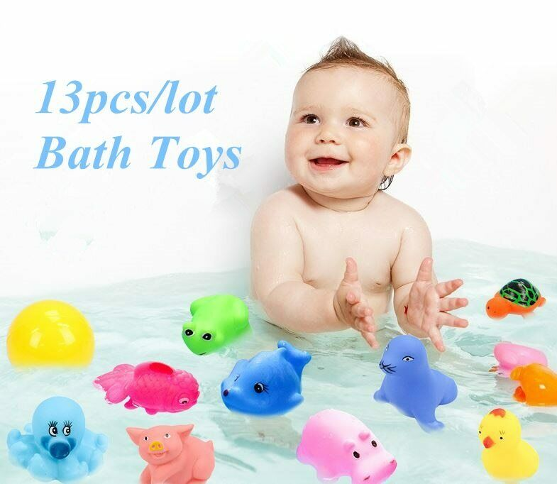 13pcs/lot Baby Bath Toys Animals Water Spray Bathroom Soft Rubber Squeeze Sound
