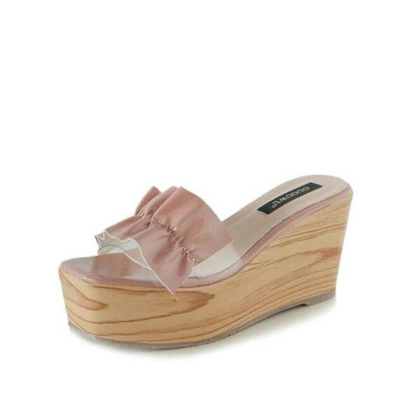 Sandalias elegantes zuecos cuña zapatillas 9 rosa cómodo como piel colorido 9830