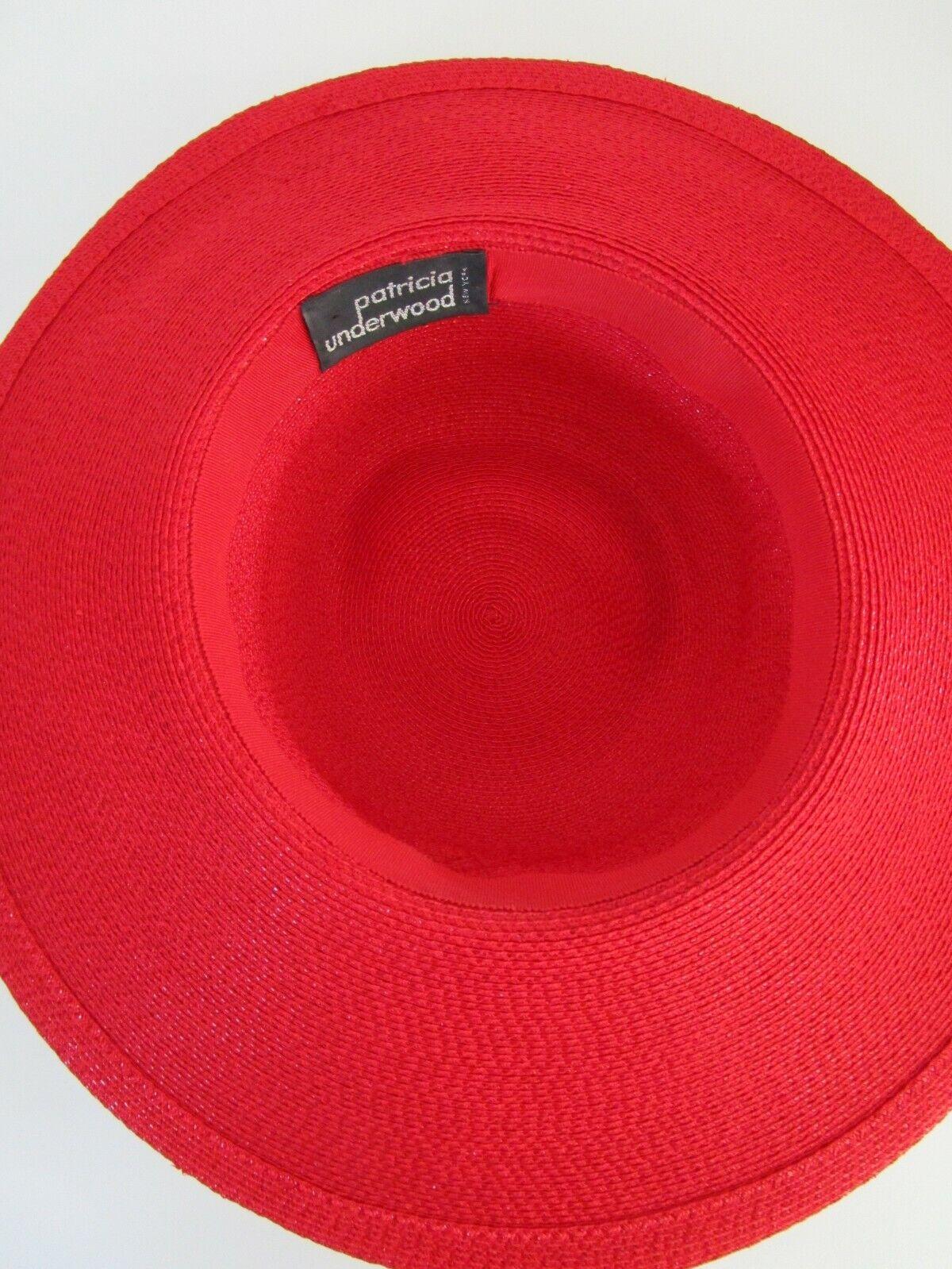 Patricia Underwood Red Wide Brim Hat Silk Flower … - image 9