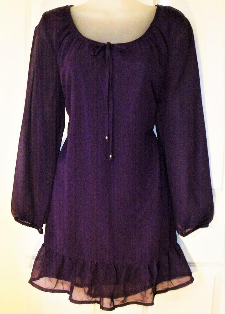 """Nouvelle Aubaine Being Casual Violet Mousseline Robe Ou Long Top 33"""" Taille 12 # 517 *"""