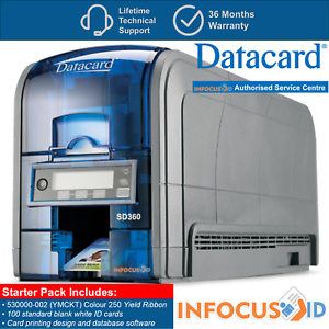 New-Datacard-SD360-Plastic-ID-Card-Badge-Printer-Inc-Free-Starter-Pack-amp-Support
