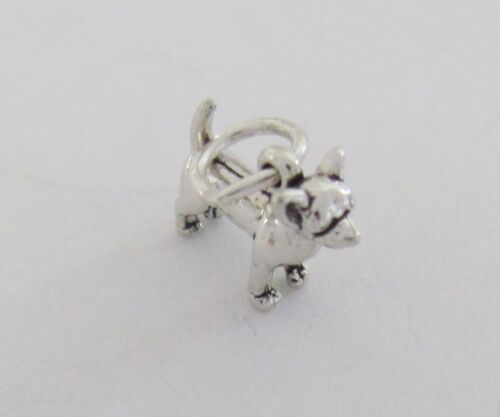 Small Sterling Silver Chihuahua dog miniature charm.