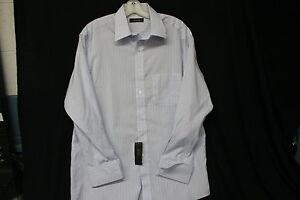 Tasso-Elba-Light-Blue-and-Brown-Striped-Dress-Shirt-Size-15-1-2-Sleeve-32-33