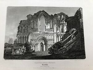 original-1802-antique-print-castle-acre-priory-norfolk