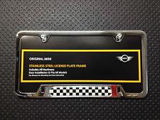 OEM Mini Cooper Checkered Flag License Plate Frame Polished Chrome 51800406645