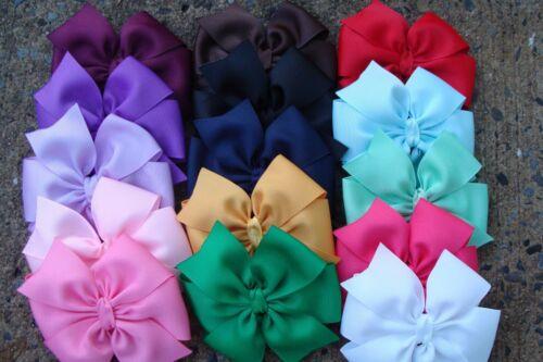 "4"" inch 12 Pcs pinwheel Hair Bows Girl Baby Alligator Grosgrain Ribbon handmade"