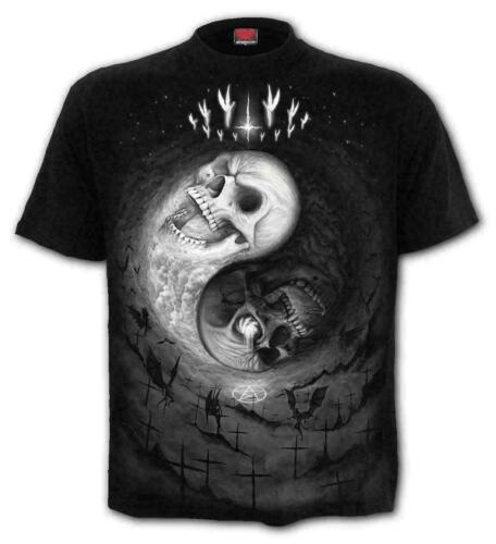 T-Shirt Metal Spiral Direct YIN YANG SKULLS Mens Rock Goth Clothing Biker