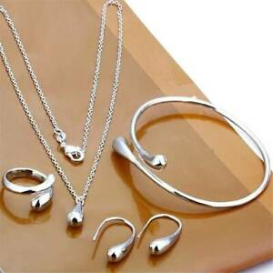 4Pc-Jewelry-Set-Valentine-039-s-Day-Gift-925-Silver-Necklace-Earrings-Bangle-Ring-UK