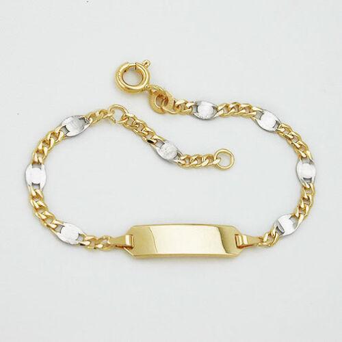 Baby Taufe Kinder Armband Bicolor Gelb Weiß Gold 585 14 Kt mit Gravur Name Datum
