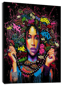 African Black Girl Hair Art Canvas Modern Oil Painting For Home Living Room Wall