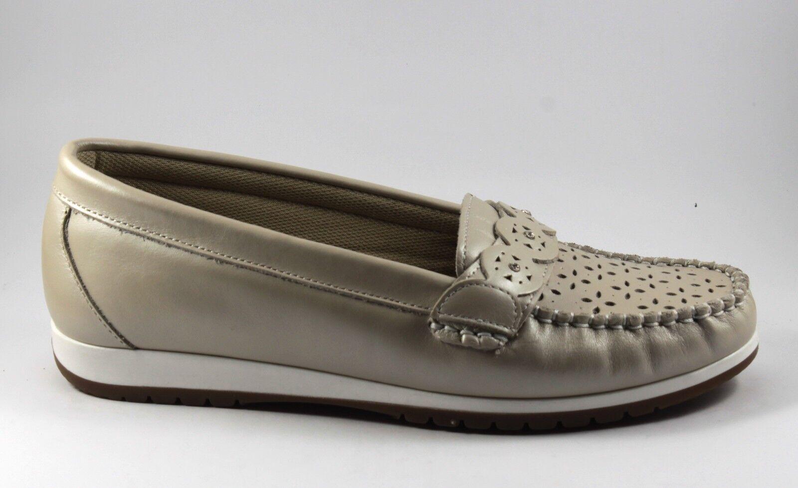 MOCASSINI Schuhe Damens SNEAKERS  IN PELLE n. COLORE AVORIO MORBIDISSIME n. PELLE 36 607459
