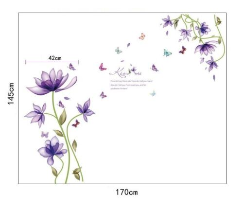 Wall Stickers Lily Purple Flower Wall Tattoo Wall Art Decal Home Decor all Room