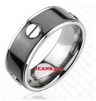 Mens Black Wedding Band Ring Titanium Modern Anniversary 8mm Bolts Design