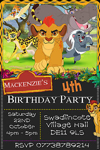 Details About Personalised Kion Lion Guard King Birthday Party Invites Inc Envelopes LG3