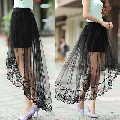 WomenLady Girl Elastic Waist Mesh Sheer Dress Long Asymmetric Skirt Long Skirt