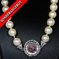 Klassische Perlenkette (585er Gold) mit Rubinen