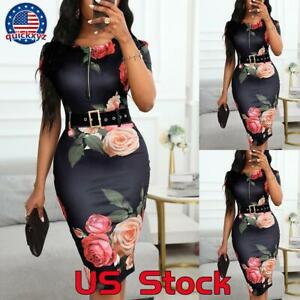Women Slim Fit Floral Short Sleeve Mini Dress Bodycon Evening Party Club Gown