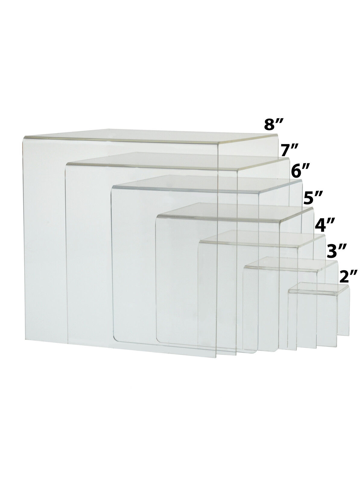 Lot of Clear 2 Cube Counter Top Riser Jewelry Makeup Display Full Set of 7