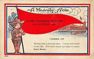 LOUISVILLE-KY-WW1-U-S-ARMY-CAMP-ZACH-TAYLOR-CHEER-UP-MESSAGE-1918-PSMK-POSTCARD