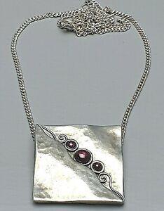 Design Anhänger Handarbeit Almandin-Granate besetzt 925 Silber & Kette /A491