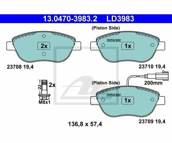 ATE Brake Pad Set, disc brake ATE Ceramic 13.0470-3983.2