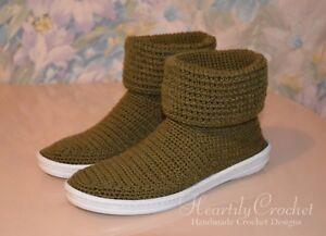 bb01b84f4885 Image is loading Women-wool-crochet-boots-handmade-house-shoes-crochet-