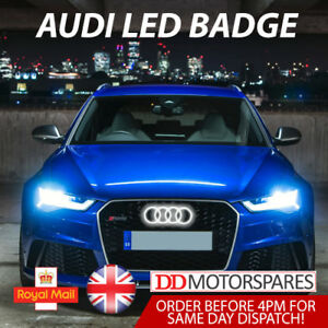 AUDI-LED-BADGE-A3-A4-A5-A6-WHITE-LIGHT-FRONT-GRILL-GLOW-LOGO-EMBLEM-RING