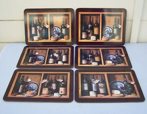 6 x VINTAGE WOODEN TABLE PLACE MATS w WINE FOOD KITCHEN THEME