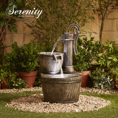 Serenity Water Feature Cascading Garden Wooden Style Barrel Bucket /& Pump Design
