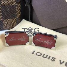 $800 RARE Louis Vuitton Mens Petite Malle Trunk RED PEARL 925 Silver Cufflinks