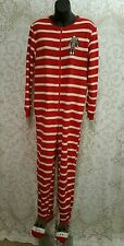 NICK & NORA Red & White Stripe Sock Monkey Onsies Footed Pajamas Sz S #2196
