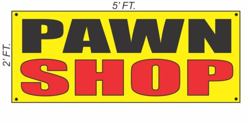 PAWN SHOP Banner Sign Yellow with Red /& Black