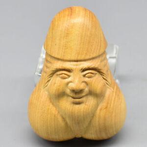 Hand Carved Japanese Boxwood Netsuke Lady on Basin Handy Wood Carving Figurine.