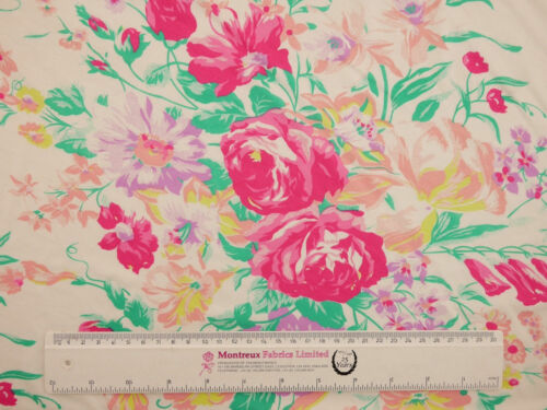 Printed Viscose Jersey Fabric Pink Bouquet MADE IN UK