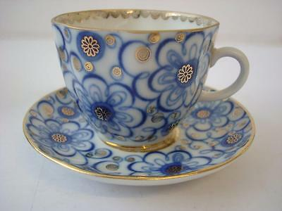 LOMONOSOV USSR BINDWEED COBALT BLUE WHITE & GILT COFFEE CUP AND SAUCER