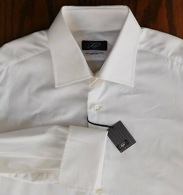 "Piattelli Italian shirt Collar size 16.5"" NEW shirt shop soiled Double cuffs"