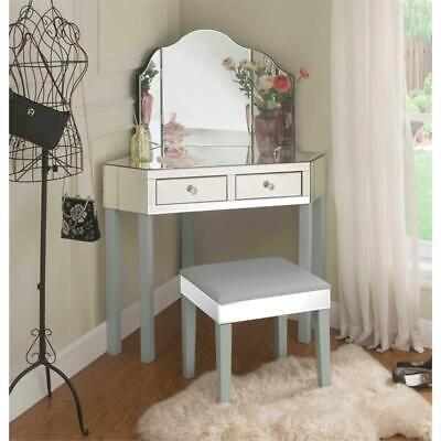 3 Piece Vanity Set.Perry Mirrored 3 Piece Vanity Set Grey Ebay