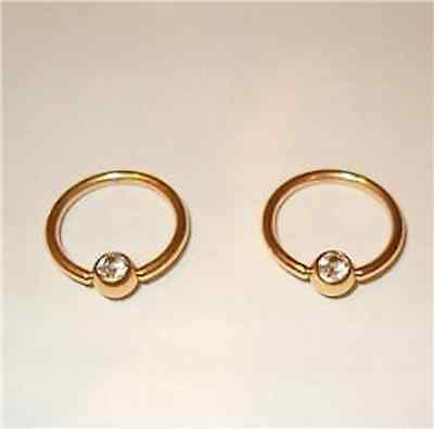 A Pair 2 Gold gep Cubic Zirconia Nipple 14g pierced CBR