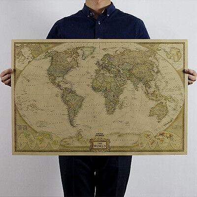 Antique Vintage Retro Poster Log The World Map Decor Giant Chart the Atlas*