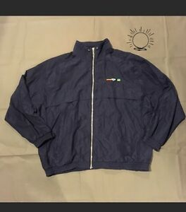 Vintage-Windbreaker-Woman-039-s-XL-Navy-Blue-Retro