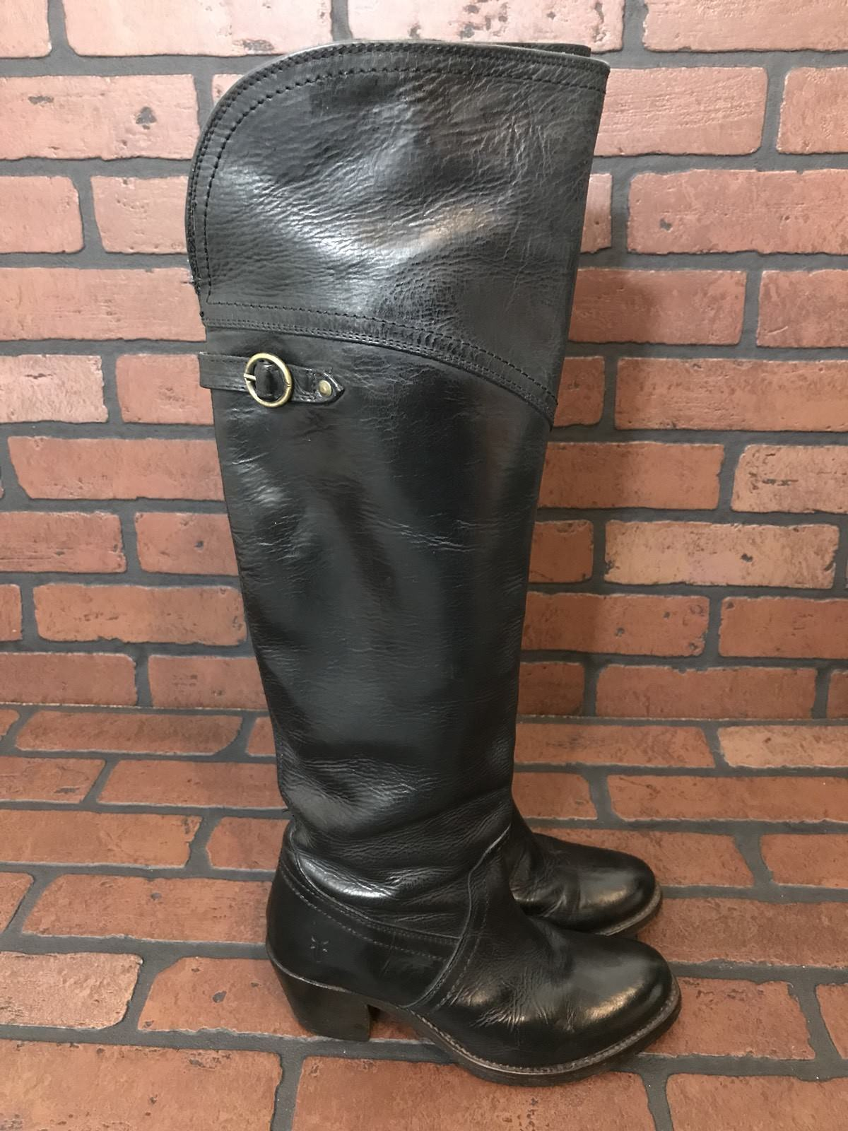 Frye Knee High Boots Black Leather Size 5.5