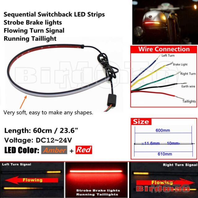 motorcycle sequential switchback flowing led strip brake turn signals tail  light for sale online | ebay