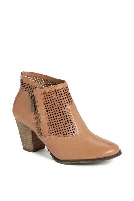 Bella Vita Perforated Leather Side Zip Block Heel Butterscotch Stiefelies 10 WW